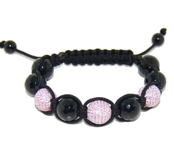 Shamballa bracelet with 12mm pink cz & faceted onyx-102