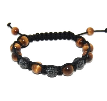 Shamballa bracelet with 10mm black cz & tiger eye-111