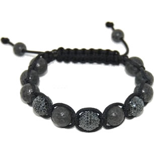Shamballa bracelet with 10mm black cz and lava beads-112