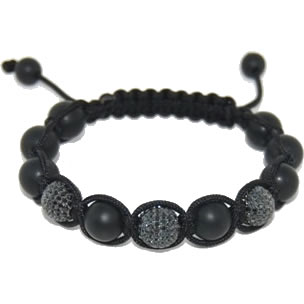 Shamballa bracelet with 10mm black cz & matte onyx-113