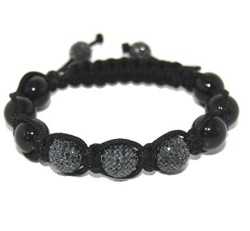 Shamballa bracelet with 10mm black cz & black onyx-117