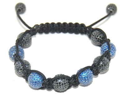 Shamballa bracelet with 10mm blue & black cz beads-124