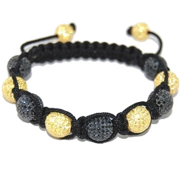 Shamballa bracelet with 10mm black & yellow cz beads-125