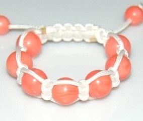 Kid`s Shamballa bracelet with 10mm pink coral beads-132
