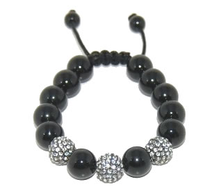 Shamballa bracelet with 12mm crystals & black onyx-139