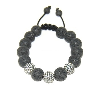 Shamballa bracelet with 12mm crystals & black lava-142