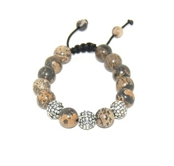 Shamballa bracelet with 12mm crystals & jasper beads-143