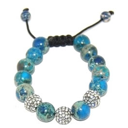Shamballa bracelet with 12mm crystals & blue jaspers-144