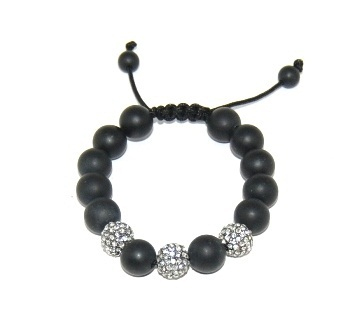 Shamballa bracelet with 12mm crystals & matte onyx-145