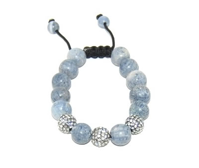 Shamballa bracelet with 12mm crystals & blue coral-146