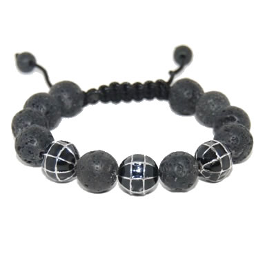 Shamballa bracelet with 12mm alloy & lava stones-15