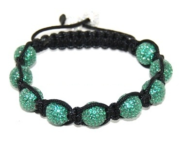 Shamballa bracelet with 10mm green cz beads-163