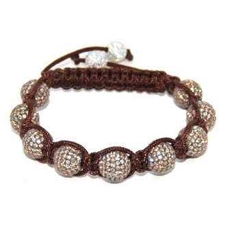 Shamballa bracelet with 10mm champagne cz beads-164