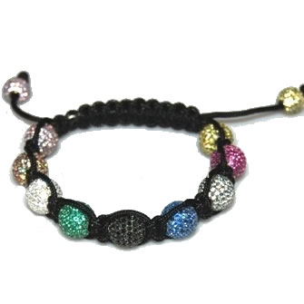 Shamballa bracelet with 10mm multi color cz beads-169