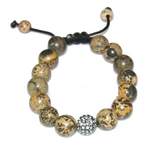 Shamballa  bracelet with 12mm crystal & jasper beads-17