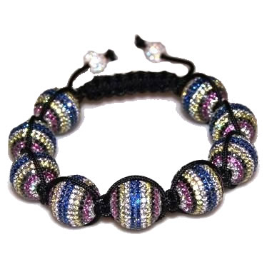 Shamballa bracelet with 16mm multi color cz beads-190