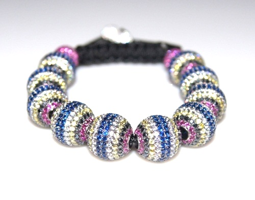 Shamballa bracelet with 14mm multi color cz beads-221