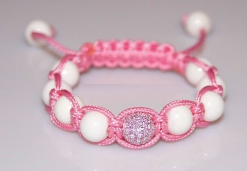 Kid`s Shamballa bracelet with 8mm pink cz-white coral beads-225