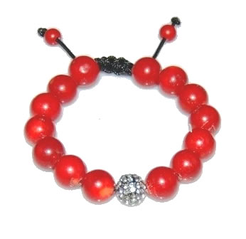 Shamballa bracelet with 12mm crystal & red coral-23