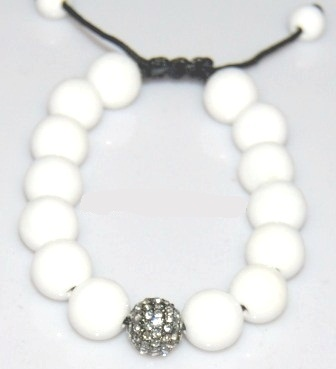 Shamballa  bracelet with 12mm crystal & white coral-24