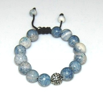 Shamballa  bracelet with 12mm crystal & blue corals-25