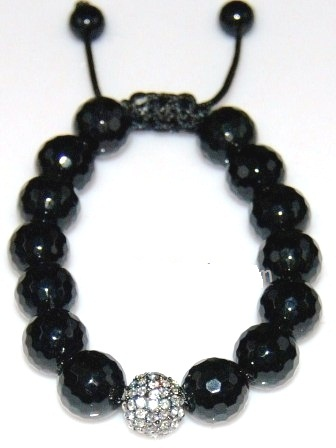 Shamballa  bracelet with 12mm crystal & faceted onyx-26
