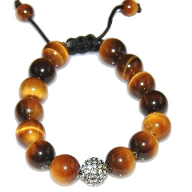 Shamballa bracelet with 12mm crystal & tiger eye-27