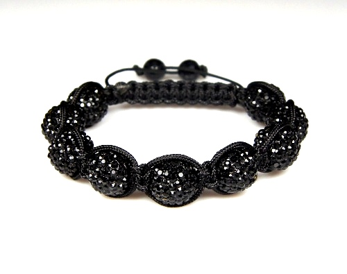 Shamballa  Bracelet with 12mm black clay crystal beads - 278