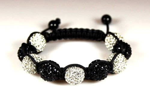 Shamballa Bracelet with 12mm black & white crystal beads - 279