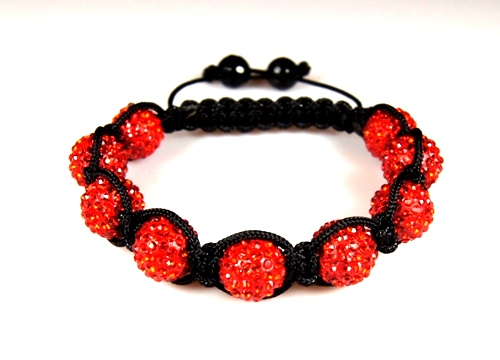 Shamballa Bracelet with 10mm red clay crystal beads - 281