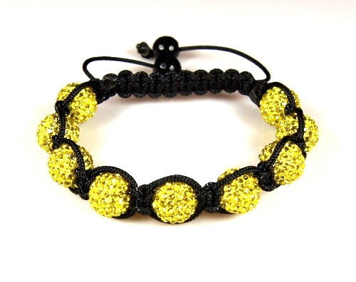 Shamballa  Bracelet with 10mm yellow clay crystal beads - 282