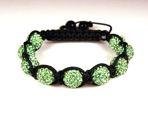 Shamballa Bracelet with 10mm light green crystal beads - 283