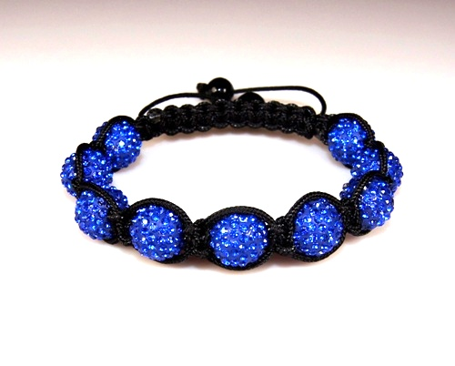 Shamballa Bracelet with 10mm blue clay crystal beads - 284