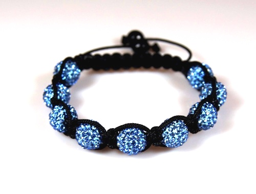 Shamballa Bracelet with 10mm light blue crystal beads - 285