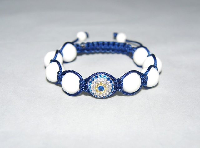 Evil Eye Bracelet with white coral beads - 501