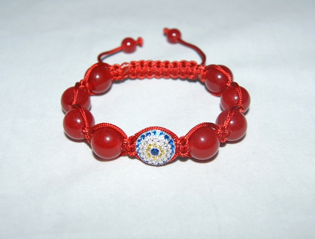 Evil Eye Bracelet with red jade beads - 503