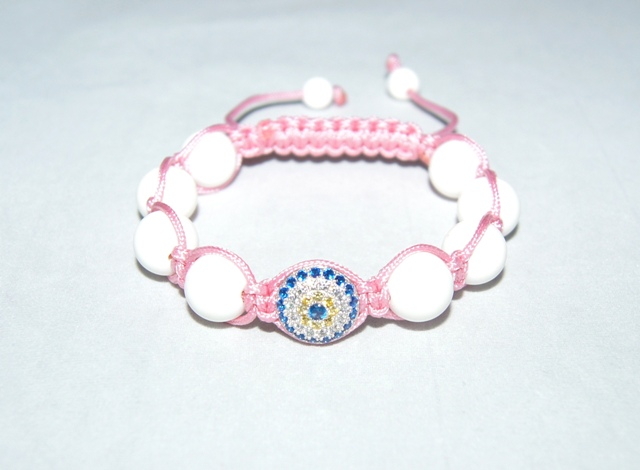 Evil Eye Bracelet with white coral beads,pink cord- 504