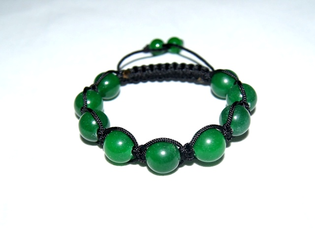 Shamballa style Bracelet with 12mm green agate beads - 509