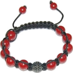 Shamballa bracelet with 10mm black cz & red coral-51