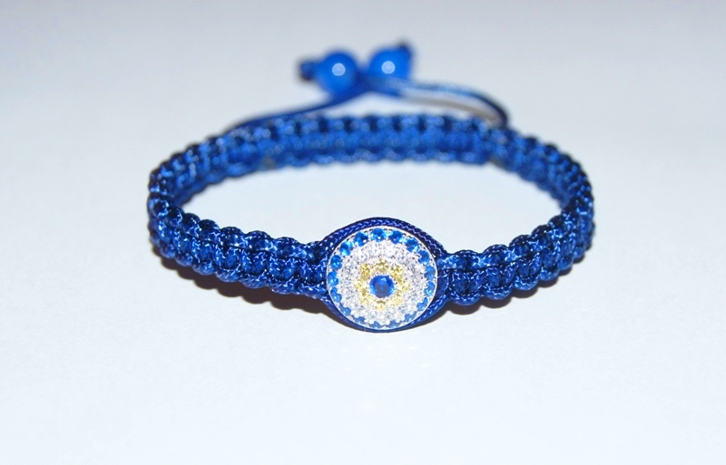 Evil Eye Bracelet with blue cord & 8mm blue agate - 511