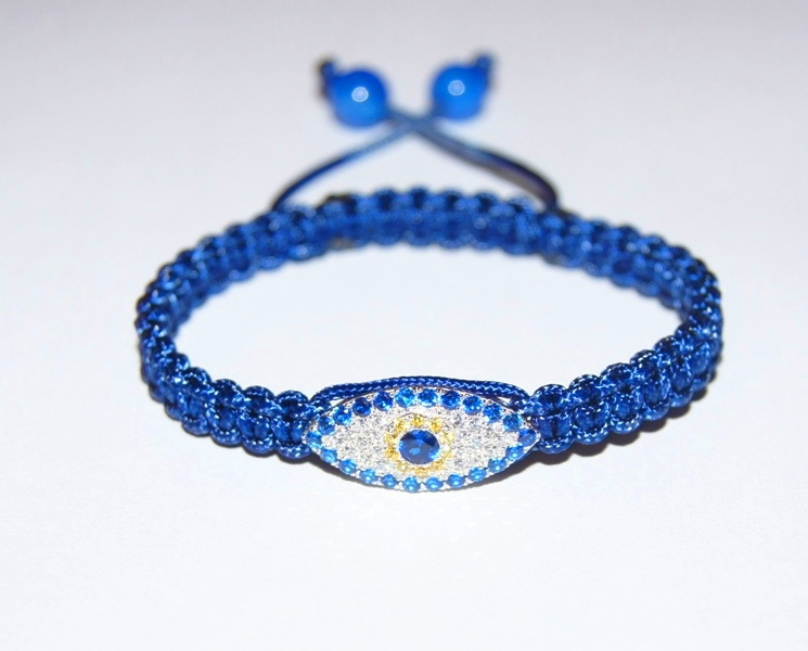 Evil Eye Bracelet with blue cord & 8mm blue agate beads - 512