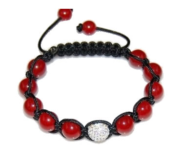 Shamballa bracelet with 10mm white cz & red coral-52