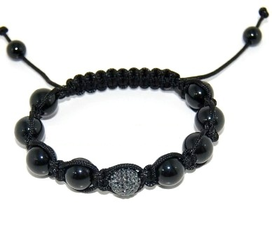Shamballa bracelet with 10mm black cz & black onyx-59