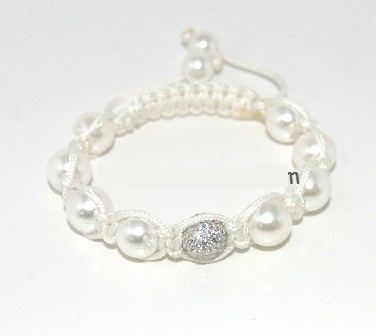 Shamballa bracelet with 10mm white cz & shell beads-66