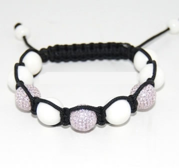 Shamballa bracelet with 12mm pink cz & white coral-90