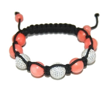 Shamballa bracelet with 12mm white cz & pink coral-91