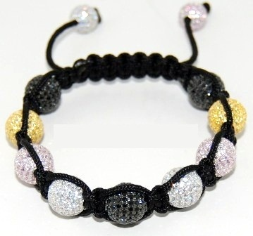 Shamballa bracelet with 10mm multi color cz beads-94